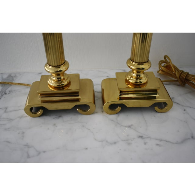 Neoclassical Brass Columnar Candlestick Table Lamps- A Pair - Image 8 of 11