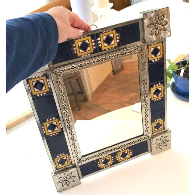 Vintage Mexican Blue and White Handmade Tile Mirror For Sale - Image 4 of 12