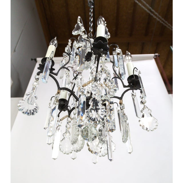 Multi Crystal Birdcage Chandeliers - a Pair For Sale - Image 4 of 13