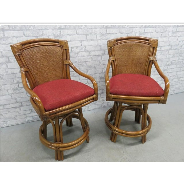 Rattan Bamboo Leather Swivel Bar Stools - a Pair For Sale - Image 13 of 13