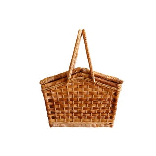 Wicker & Rattan Picnic Hamper Basket For Sale