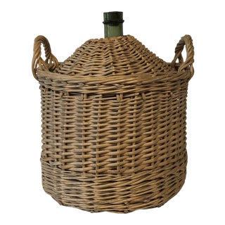 Vintage Wicker Wrapped Glass Demi John Bottle For Sale