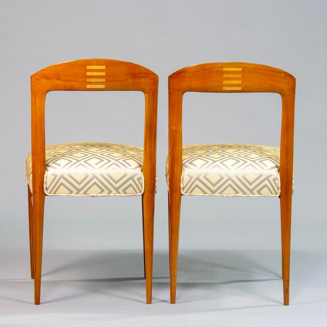 Set of Eight Art Deco Beech Chairs With New Upholstery For Sale - Image 11 of 12