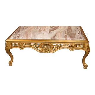 European Style Marble Top Gold Finish Cocktail Table