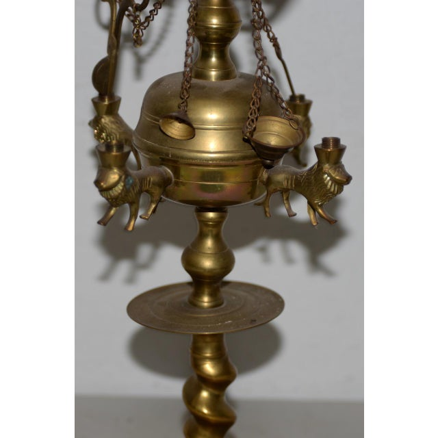 19th C. Middle East Brass Oil Lamp For Sale In San Francisco - Image 6 of 8