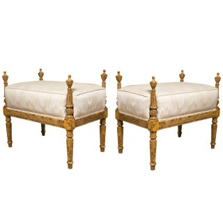 French Louis XVI Style Painted Benches - A Pair For Sale