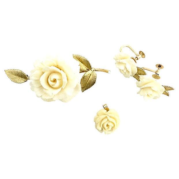 Krementz Rose Earrings, Brooch & Pendant For Sale In Miami - Image 6 of 8