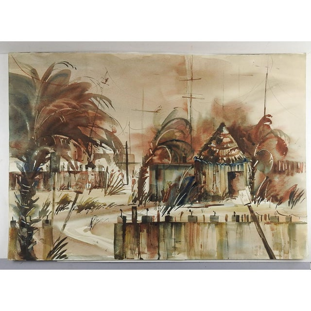 Modernist watercolor on paper by Dianne Curington, Florida titled Beach Shack. Signed lower right. Unframed.