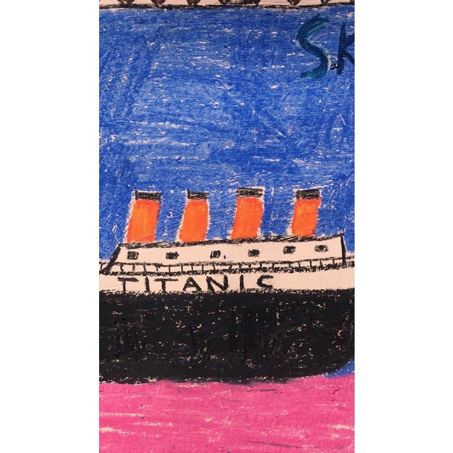 This is a colorful piece by Sean Kratzert's playful 'Boats' series. He remembered that he drew boats a lot as a kid and...