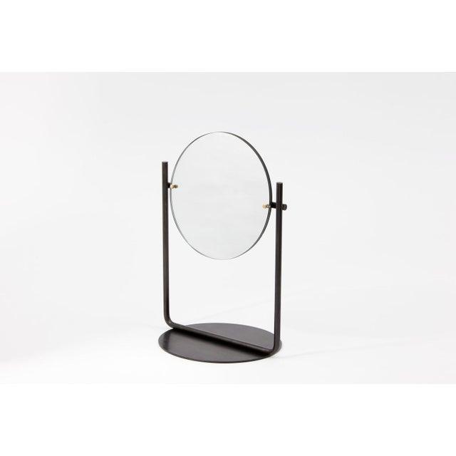 Contemporary Steven Bukowski Contemporary Harp Vanity in Blackened Steel For Sale - Image 3 of 5