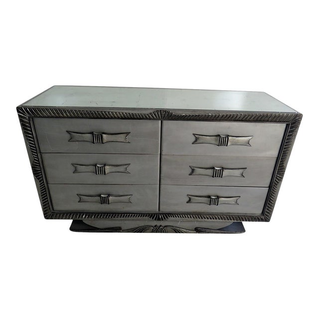 Silvered Distressed Mirrored Dresser For Sale
