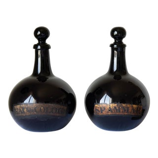Large French 18th Century Hand Blown Glass Parfumerie Bottles - a Pair For Sale