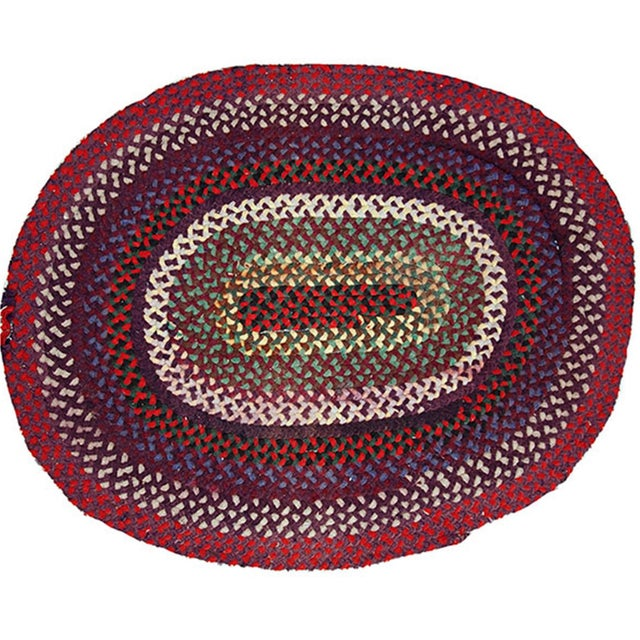 "Red 1920s Antique American Handmade Braided Rug - 2'4"" x 3'1"" For Sale - Image 8 of 8"
