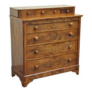 Antique American Empire Flamed Crotch Mahogany Dresser Tall Chest of Drawers For Sale