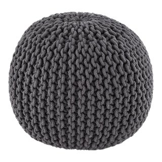 Modern Gray Hand Knitted Pouf For Sale