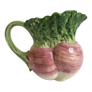 Vintage Hand Painted Fitz and Floyd Majolica Turnip Pitcher For Sale