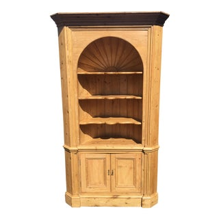 Huge Charles & Charles Antique English Country Rustic Pine Corner Cabinet For Sale