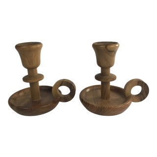 Vintage Turned Wood Candlesticks - a Pair For Sale