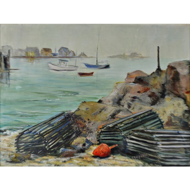 Nautical Vintage Framed Original Nautical Oil on Canvas Painting Lobster Traps - Artist Signed For Sale - Image 3 of 12