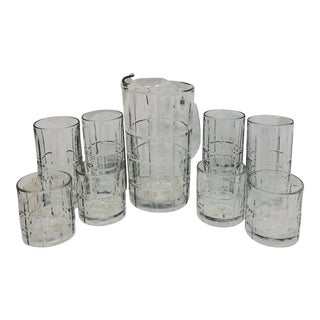 Vintage Anchor Hocking Glass Pitcher & Drinkware - Set of 9 For Sale