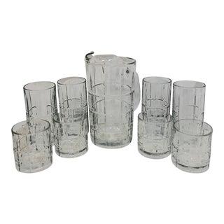 Vintage Anchor Hocking Glass Pitcher & Drinkware - Set of 9 For Sale