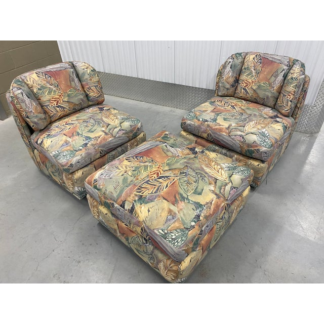 Wood Palm Beach Style Chairs and Ottoman For Sale - Image 7 of 7