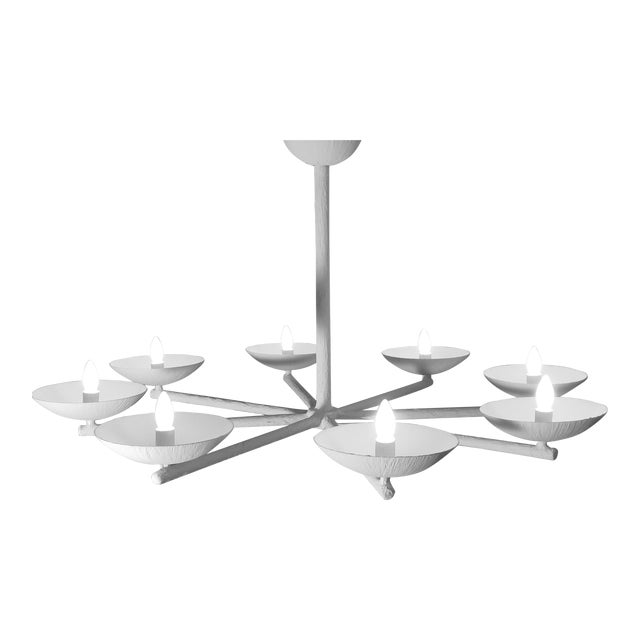 Plaster Spoke Chandelier With White Finish For Sale