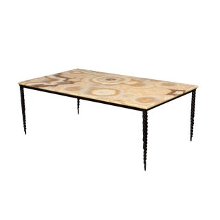 Wrought Iron & Onyx Coffee Table by Jean De Merry For Sale