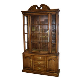 1960s Harden Two Piece Solid Cherry Traditional Style China Cabinet For Sale