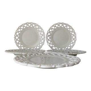"""Vintage Milk Glass Salad Plates 8.5"""" Basket Weave Pattern Set-5 For Sale"""