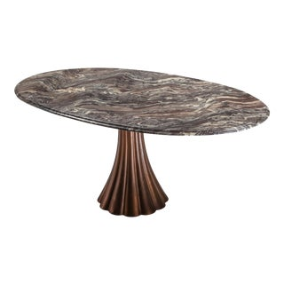 Angelo Mangiarotti Marble Table on Metallic Cast Base - 1970's For Sale