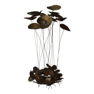 Large Jere Style Brutalist Brass Lilypad Kinetic Sculpture For Sale