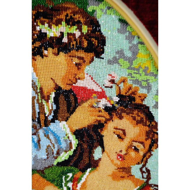 Vintage Victorian Style Framed Beaded Needlepoint For Sale - Image 4 of 10