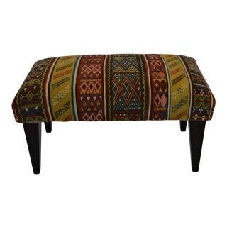 Custom Vintage Hand Made Colorful Wool Rug Ottoman For Sale
