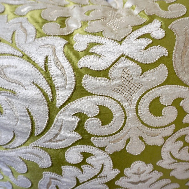 Contemporary French Green and Ivory White Damask Velvet Throw Pillows - a Pair For Sale - Image 10 of 11