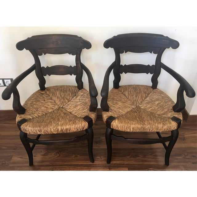 French Country 19th Century Set of Four Armchairs with Straw Seat For Sale - Image 3 of 11