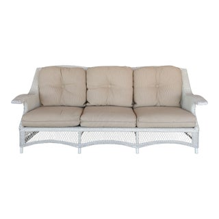 Traditionally Styled Modern Wicker Sofa W/ Metal Frame For Sale