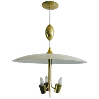 Lightolier White Enameled Metal & Brass Pendant For Sale