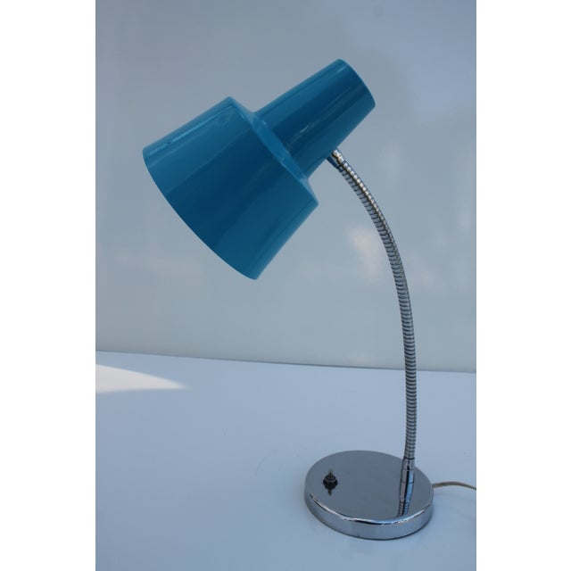 Directional Vintage Chrome & Blue Shade Desk Lamp - Image 2 of 8