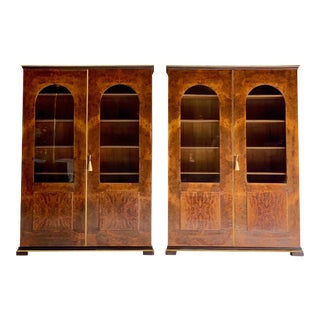 Tomaso Buzzi Burr Walnut Display Cabinets Bookcases, Italy, circa 1929 - A Pair For Sale
