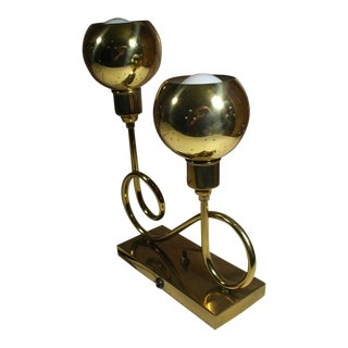 Vintage Mid-Century Modern Atomic Era Brass 2 Globe Light Table Lamp For Sale