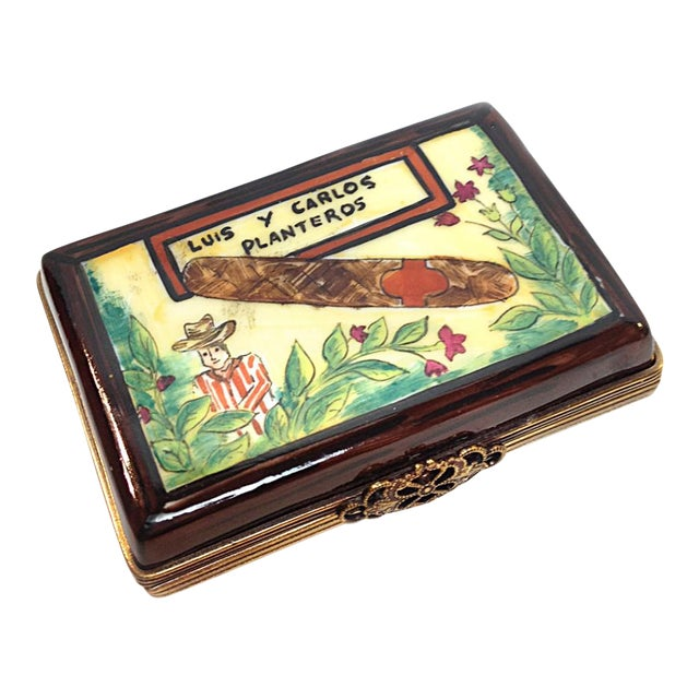 Hand Painted Cuban Cigar Limoges Box For Sale