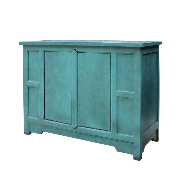 Simple Shabby Chic Rustic Light Blue Low Credenza Cabinet For Sale In San Francisco - Image 6 of 8