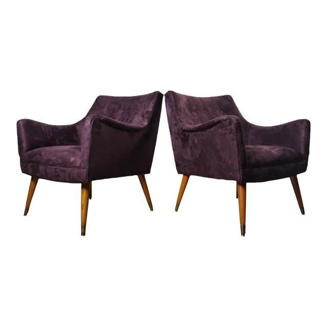 1960s Mid Century Modern Paul McCobb Purple Upholstered Lounge Chairs - a Pair For Sale