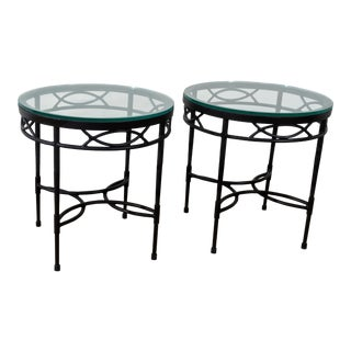 Vintage Janus Et Cie Amalfi Collection Powder Coated Epoxy Coated Steel Finish Tables- a Pair For Sale