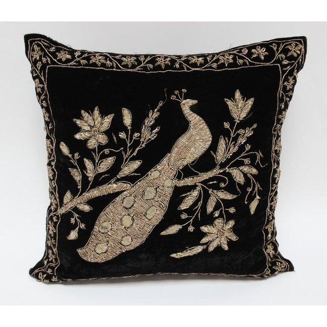 Black Velvet Throw Pillow Embroidered With Metallic Gold Threads For Sale - Image 11 of 13