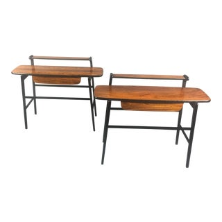 Pair of Italian 1970s Rosewood End Tables For Sale