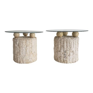 Vintage Postmodern Tessellated Stone Side Tables - a Pair For Sale