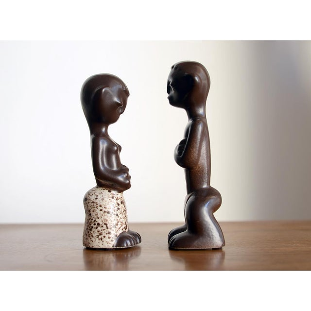 1950s 1950s Mid Century Howard Pierce Ceramic Tribal Couple Figurines - a Pair For Sale - Image 5 of 7