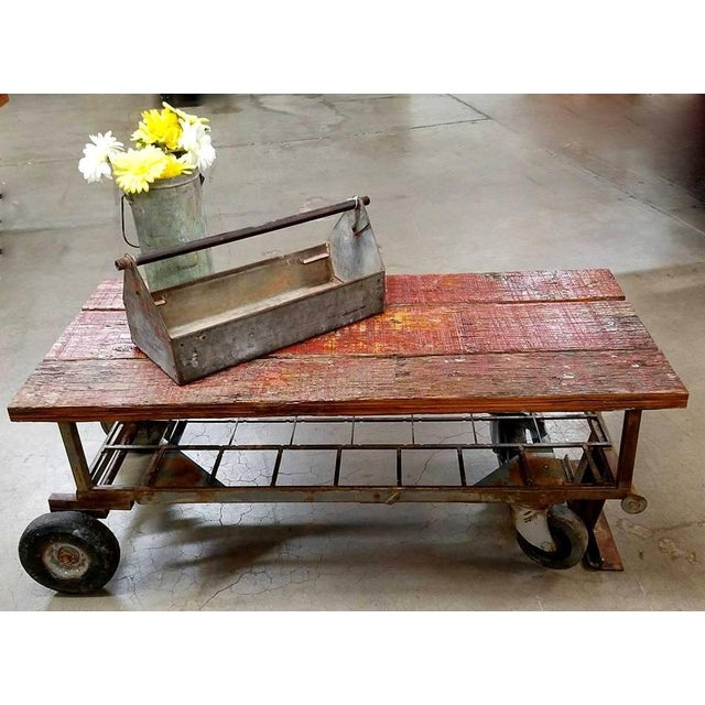 Upcycled Old Metal Cart Industrial Coffee Table